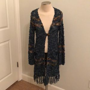 Hand woven single button long cardigan